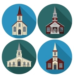 Church flat set vector