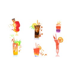 cocktails collection colorful alcoholic drinks vector image