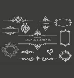 collection of damask design elements vector image