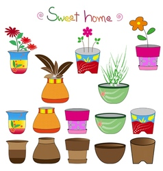 colorful flowerpots set 2 vector image