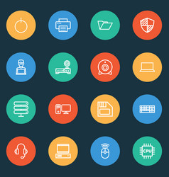 computer icons line style set with shield vector image