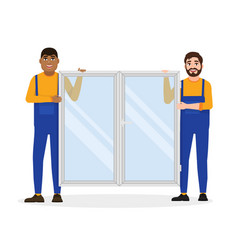 Construction workers in overalls hold a window vector