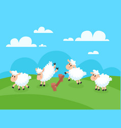 Counting jumping sheeps for goodnight sleep sheep vector