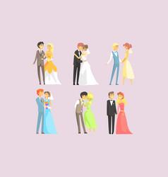couples celebrating marriage set happy newlyweds vector image