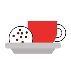 Cup of coffee and cookie chocolate chip vector