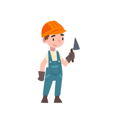 Cute boy dressed as construction worker kids vector