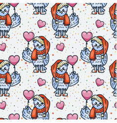 cute seamless pattern owlet with balloon cartoon vector image