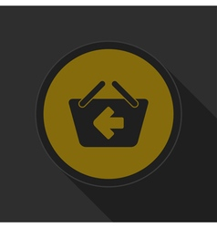 Dark gray and yellow icon - shopping basket back vector