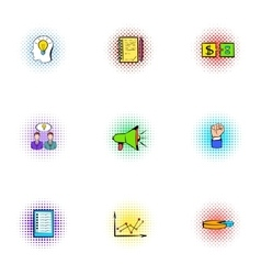 Deal icons set pop-art style vector