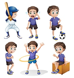Different activities a young boy vector