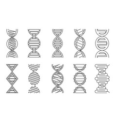 Dna icons set coloring book vector