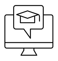 e-learning thin line icon monitor and graduate vector image