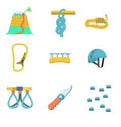 Flat color icons for climbing outfit vector image