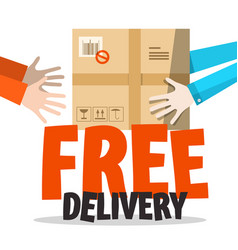 Free delivery symbol with parcel in human hands vector