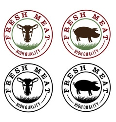 fresh meat vintage labels set vector image vector image