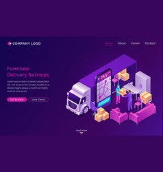 Furniture delivery online services banner vector