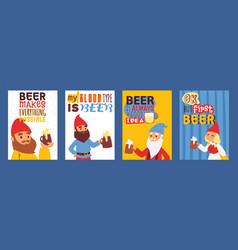 Garden gnome drink beer beard dwarf characters vector