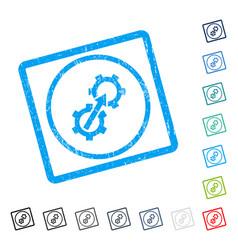 Gear integration icon rubber watermark vector