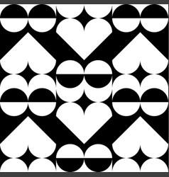 geometric heart pattern black and white geometric vector image