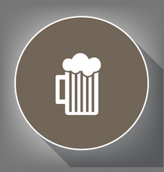 Glass of beer sign white icon on brown vector