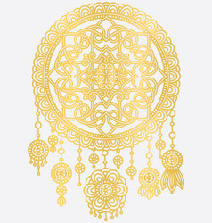 Golden mandala dreamcatcher vector