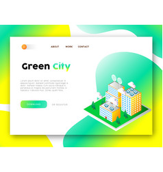 green city eco friendly web app landing page vector image