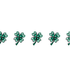 green four-leaf clover seamless border vector image