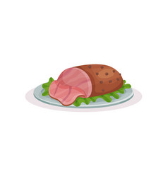 Grilled ham on a plate traditional christmas food vector
