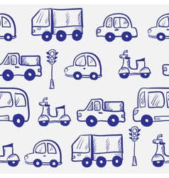 Hand drawn doodle cartoon cars seamless pattern vector