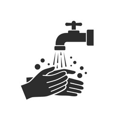 Hand washing with tap water icon vector
