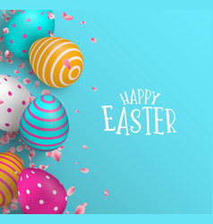 happy easter card of color eggs and spring flower vector image