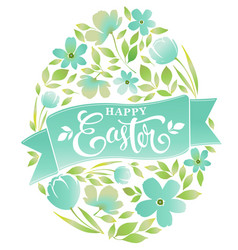 happy easter text lettering floral egg on white vector image