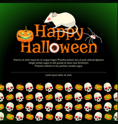 Happy halloween poster with big white rat vector