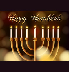 happy hanukkah card template with light vector image