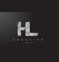 Hl h l letter logo with zebra lines texture vector