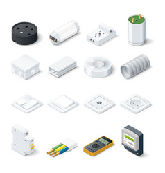 Home electric isometric icon set vector