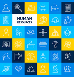 Human resources line icons vector