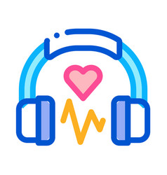 Influence on heart music icon outline vector