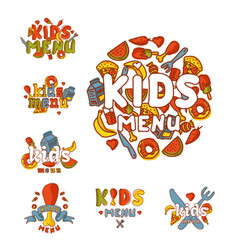 Kids organic menu hand drawn banner cartoon vector