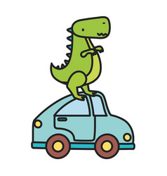 Kids toy green dinosaur and blue car toys vector