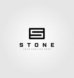 letter s stone square logo minimalist design vector image