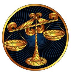 Libra golden zodiac sign horoscope symbol vector