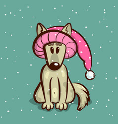 little dog in hat vector image