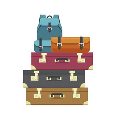 Luggage bags heap or travel baggage pile stacked vector