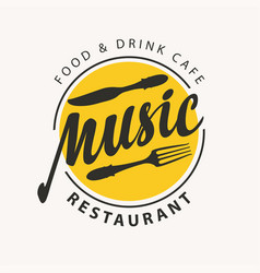 menu or banner for music restaurant with cutlery vector image
