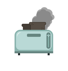 Metallic blue toaster with two burnt pieces of vector