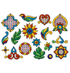 Mexican decoration set talavera ceramic pattern vector