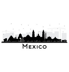 mexico city skyline silhouette with black vector image