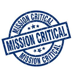 Mission critical blue round grunge stamp vector