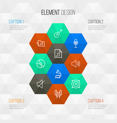 Multimedia outline icons set collection of vector